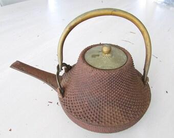 Antique Iron and Brass Japanese Saki Pot
