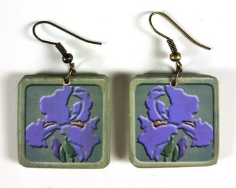 Iris Flowers - Craftsman Style Tile Earrings - designed & hand-crafted by Linda Henry - Lightweight - Unique Gift! (t-17)