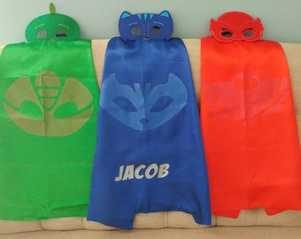 Ready to Ship!  One (1) PJ Masks Cape and Mask Set! Costume Owlette, Catboy, Gekko - PJ Birthday!