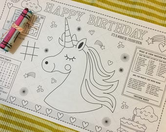UNICORN PARTY-Kids activity placemat- Digital file only