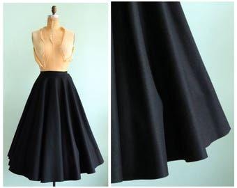 Vintage 1950s Black Wool Felt Circle Skirt | Size Small