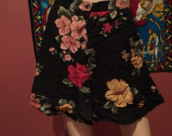 90s Floral Skirt Size Small