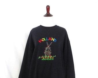Vintage Holland Sweatshirt Embroidered Windmill Sweatshirt Holland Tulips Sweatshirt Made in Holland Lightweight Novelty Pullover