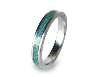 Womens Titanium Ring with Turquoise Inlay, Turquoise Ring, Titanium Ring, Womens Wedding Band, Ring for Her