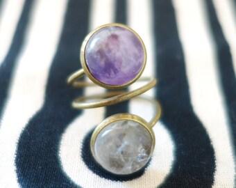 Bronze spiral ring amethyst and quartz