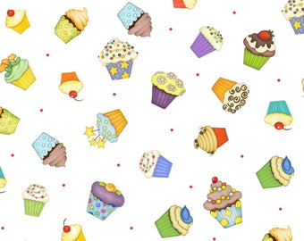 Party Cupcakes Fabric Henry Glass Beth Logan Lets Celebrate White  Cotton Fabric