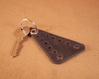 FREE SHIPPING! Black leather triangle keychain decorated with hole ornament