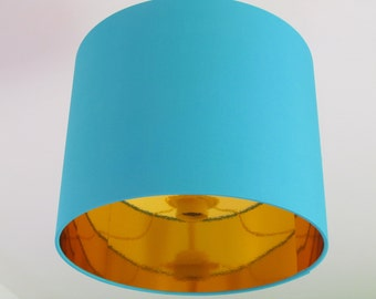NEW Handmade Mirror Gold Lined and Turquoise Fabric Lampshade Lightshade All Colours Available