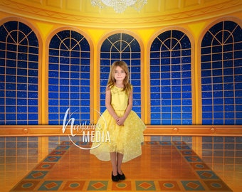 Beauty and the Beast Inspired Ball Room, Girls Princess Fairy Tale Castle Portrait Backdrop - Digital Photography Background - JPG Download