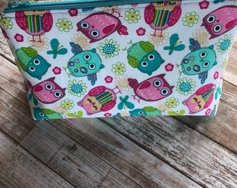 Owl Print Make-up Bag -