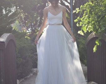 Amelia- Romantic wedding dress with lace top and tule skirt, boho wedding dress, beach wedding dress
