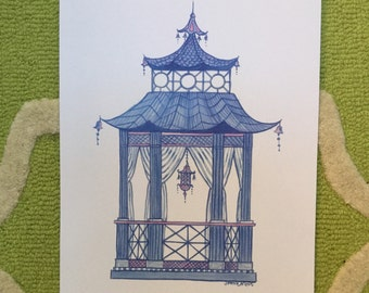 Chinoiserie Blue Pagoda Print measures 11 x 14 inches, see collection of 4