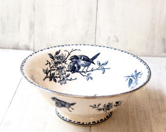 Reserved for R - Early 1900s Ironstone Salad Bowl - Sarreguemines Favori - Blue Transferware - Free Shipping Within the USA