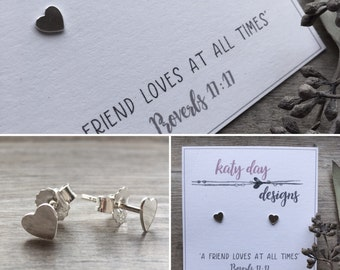 Sterling Silver Heart Earrings 'A friend loves at all times...' (Free Gift Wrapping)