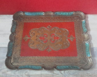 Florentine tray, tray, tray Italy, kitsch boho chic decor, tray, Christmas gift, Golden tray, shabby chic decor,