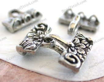 Lead Free Pewter 3 Strand Hook & Eye Whimsical Flower and Leaf Clasp, Made in USA Copyright © Protected, KF Signature Series  K378-AP