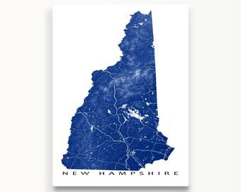 New Hampshire Art Etsy - New hampshire map usa