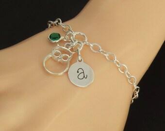 Sterling Silver Owl Bracelet, Personalised Owl Bracelet, Initial Owl Charm Bracelet, Owl Jewellery, Owl Jewelry, Initial Jewelry