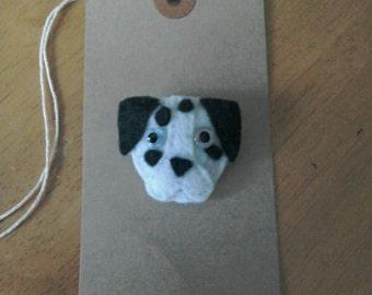 Felt Dalmatian dog brooch