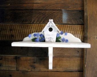 Shabby shelf. Hand Painted shelf. Distressed Small White Shelf. Shabby decor. display shelf. small book shelf