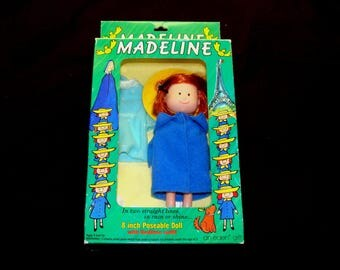 """Old Madeline doll-vintage madeline poseable doll in box-8"""" madeline doll with bedtime outfit -eden toys madeline doll"""