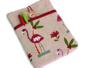 Kindle Sleeve, Kindle paperwhite case, kindle voyage cover, Kobo Touch case, Kobo Glo HD cover, Flamingo case, cute eReader Pouch - SALE