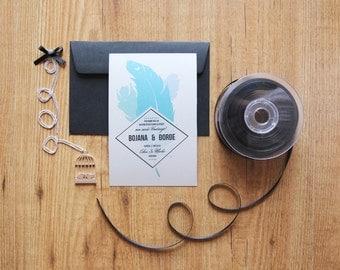 Turquoise feather Wedding invitation/ SAMPLE SET