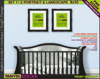 Nursery Interior N11 | Print Mockup | Set of 2 Black Ornamental Portrait Landscape 8x10 Frame | 4 PNG scene