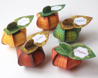 Thanksgiving Pumpkin favor box DIY Printable - 5 pumpkin gift box - Place Cards centerpiece for Thanksgiving, Fall colors - instant download