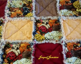 Large shabby table runner, fabric table runner, quilted table topper, fall table topper , puppy table runner, red table runner, table topper