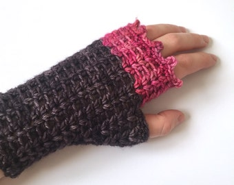 Fingerless gloves, crochet handwarmers, pink and charcoal colour extrafine merino gloves