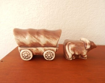 Vintage Oxen and Covered Wagon Salt & Pepper Shakers