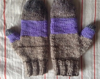 Grey and lavender wool mittens, handmade knitted women's warm mittens