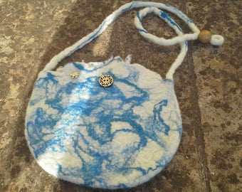 Wet felted shoulder bag , blue and natural wool.