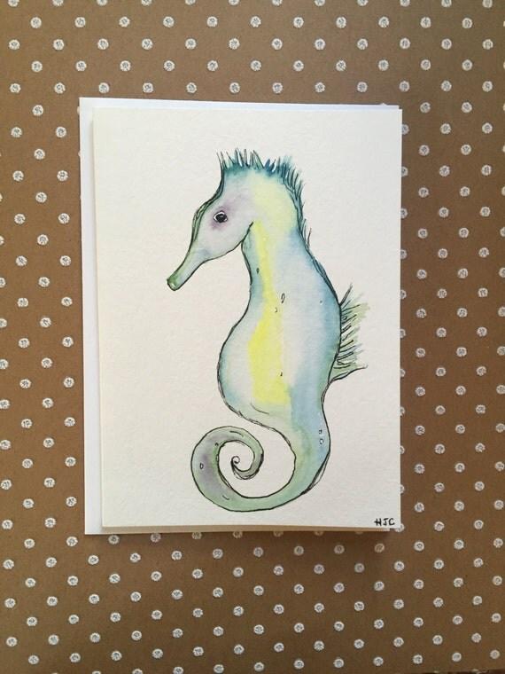 Homemade Seahorse Card, Watercolor Seahorse Card, Hand Painted Seahorse Card, Handmade Seahorse Card,