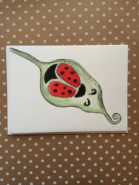 Watercolor Ladybug Card, Hand Painted Ladybug Card, Lady Bug Stationary, Lady Bug Note Card