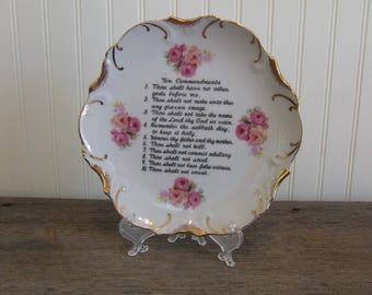 Ten Commandments Vintage Plate, Kitchen Plate, Wall Decor, Ten Commandments
