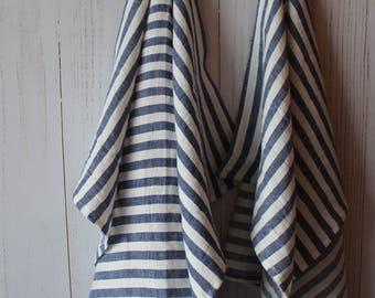 linen tea towels , gift towels, hand towels,striped blue towels, blue linen, gift for him