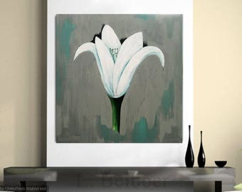 40 x 40 inch, lily painting, white lily, floral painting, large floral, contemporary grey, grey painting, grey floral, contemporary painting