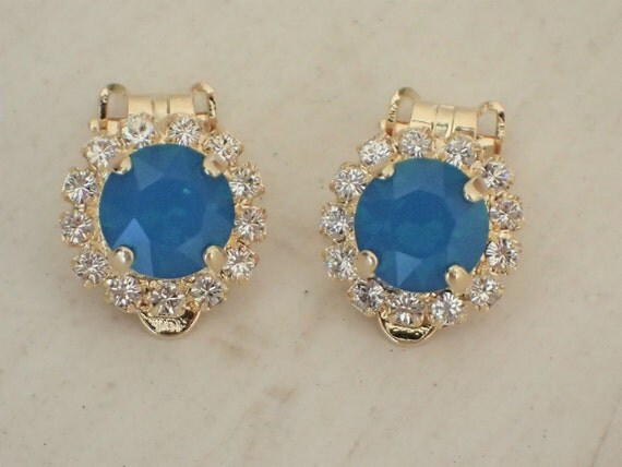Swarovski Caribbean Blue Opal & Clear Crystal Halo Clip On Earrings, Yellow Gold