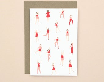 Illustrated Dancing Greetings Card A6 Blank Inside