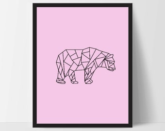 Pink Geometric Bear, Printable Wall Art, Bear Wall Print, Boho Art, Wall Prints, Bear Prints, Printable Art, Printable, Walking Bear