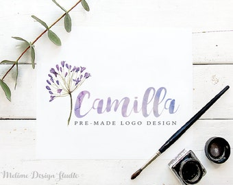 Watercolor Floral logo, Pre-made Logo Design, Floral Logo, Branding and Logo, Photography Logo (A18)