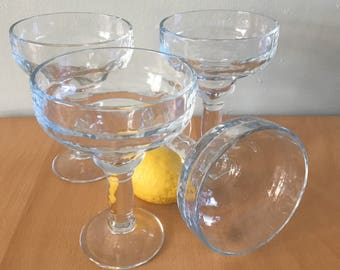 Fun vintage set of 4 heavy & clear margarita glasses - fiesta this summer in your 80s style tropical Old Florida home!
