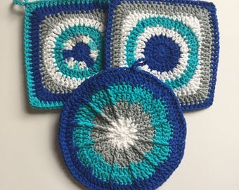 Set of 3 • Cobalt, Teal and Gray Crochet Potholders