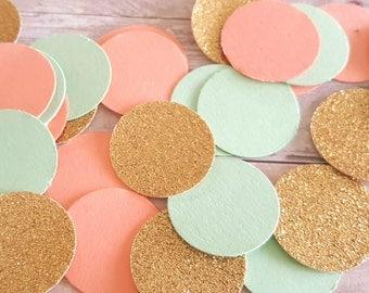 Peach and mint Confetti (240pc) Peach and Gold Confetti,Mint and peach Confetti,Mint and Coral confetti,Coral and mint confetti,