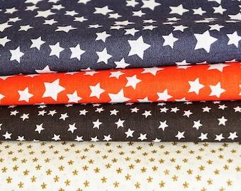 Set of 4 cotton star fabrics, navy blue, red, black, beige, 20 * 24 cm