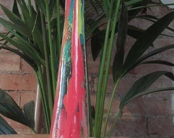 Hand Formed Painted Used Glass Bottle Neon Yellow/Pink/Clear/Turquoise/White