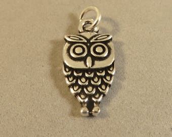 OWL .925 Sterling Silver Double Sided Charm Pendant Bird Detailed Wise Owl New bi48