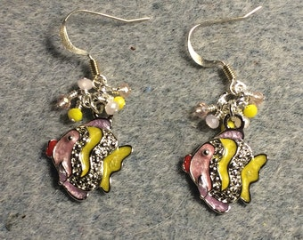 Pink and yellow enamel and rhinestone fish charm earrings adorned with tiny dangling pink and yellow Chinese crystal beads.